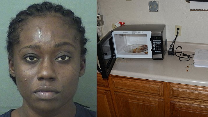 Police in Florida say Yvelande Jean-Pierre broke into a closed police substation and eat an officer's chicken dinner and left behind the asparagus and her ID. (Boynton Beach Police Department)