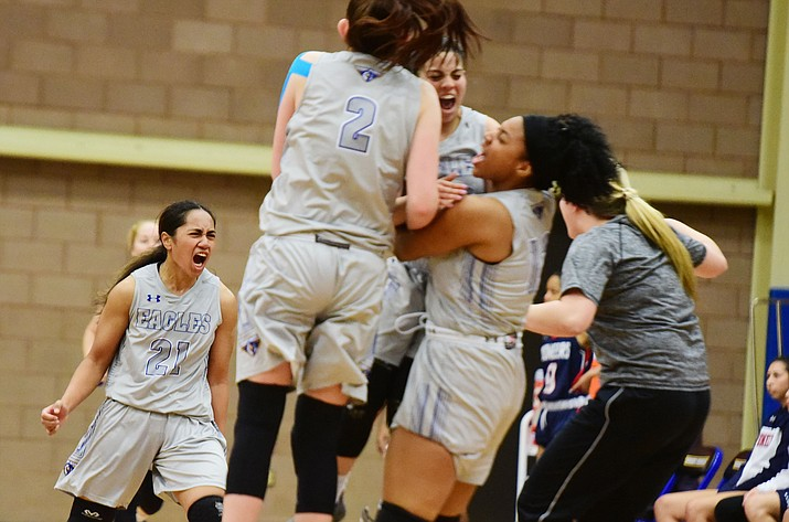 Embry-Riddle players celebrate after the Eagles beat Antelope Valley in overtime 101-96 Thursday, Jan. 10, 2019, in Prescott. (Les Stukenberg/Courier)