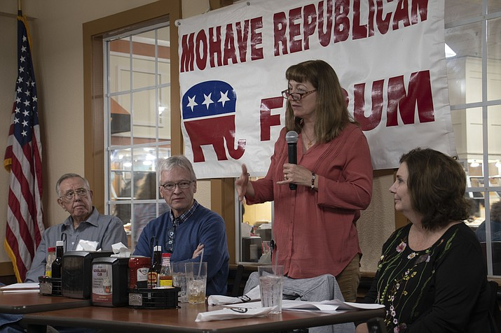 June Deering, UniSource engineering director, spoke during the Mohave Republican Forum meeting Wednesday about ongoing projects and answering questions from the audience. (Photo by Vanessa Espinoza/Daily Miner)