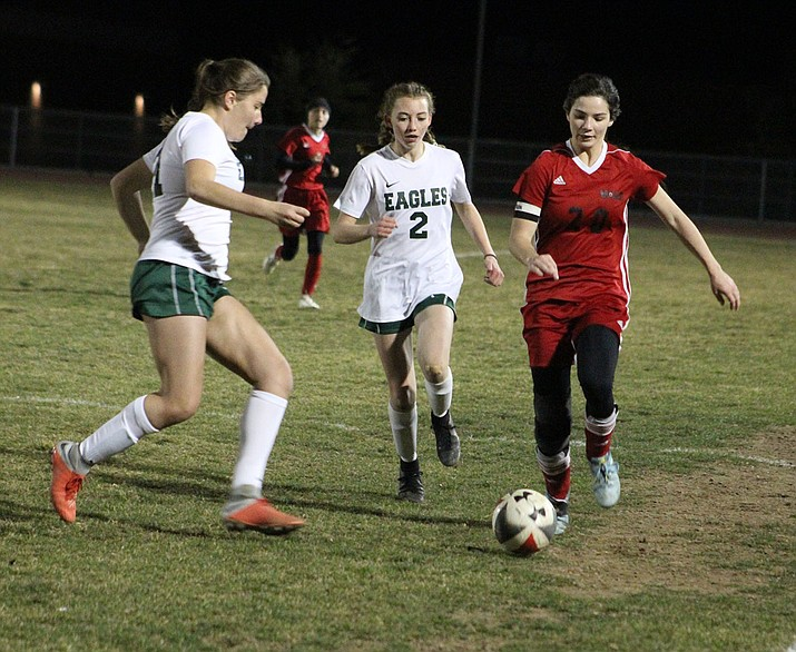 Sadie Serrano tallied her ninth assist of the season Thursday night in a 4-1 loss to Flagstaff. (Photo by Beau Bearden/Daily Miner)