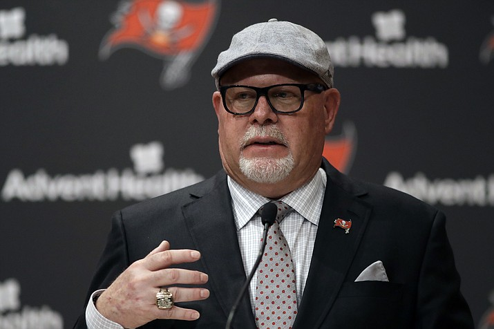 New Tampa Bay Buccaneers head coach Bruce Arians gestures as he is introduced during a news conference Thursday, Jan. 10, 2019, in Tampa, Fla. (Chris O'Meara/AP)