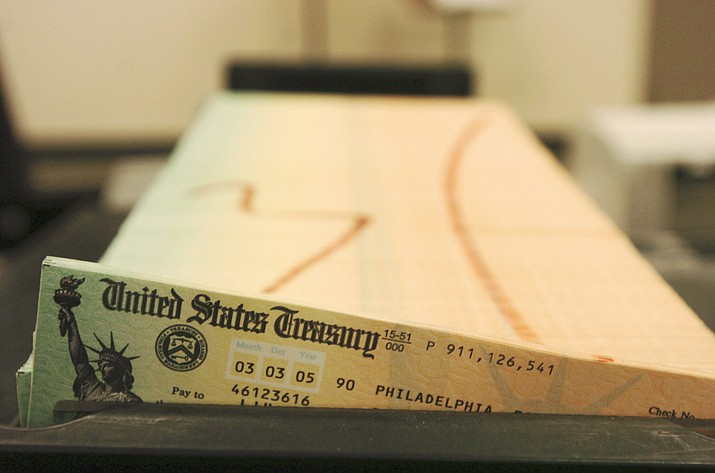 Trays of printed Social Security checks wait to be mailed from the U.S. Treasury's Financial Management services facility in Philadelphia on Feb. 11, 2005. (Bradley C. Bower/AP, File)