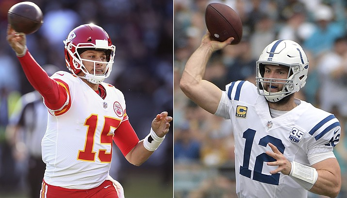 At left, in a Dec. 2, 2018, file photo, Kansas City Chiefs quarterback Patrick Mahomes (15) passes against the Oakland Raiders during an NFL football game in Oakland, Calif. At right , also in a Dec. 2, 2018, file photo, Indianapolis Colts quarterback Andrew Luck (12) throws a pass against the Jacksonville Jaguars during the first half of an NFL football game in Jacksonville, Fla. The Colts play the Chiefs in a divisional playoff game on Saturday, Jan. 12, 2019. (AP Photo, file)