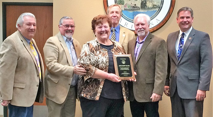 The Yavapai County Board of Supervisors honored Anna Mary Glaab, former Bagdad/Yarnell Justice of the Peace, at the Jan. 2 Board of Supervisors meeting for her 35 years of service to the county. (Sue Tone/Courier)