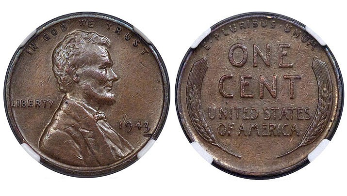 Heritage Auctions says more than 30 people bid on a rare 1943 bronze Lincoln penny on Jan. 10, 2018. Only 10 to 15 of these pennies, mistakenly minted in bronze instead of steel, are believed to exist. They were made at a time when bronze and copper were being saved to fill metal shortages during World War II. (Heritage Auctions, HA.com)