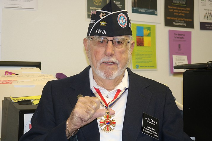 Jack Clark, commander of the Korean War Veterans Association Mohave County Chapter, wears a medal received from the Republic of Korea. (Photo by Travis Rains/Daily Miner)