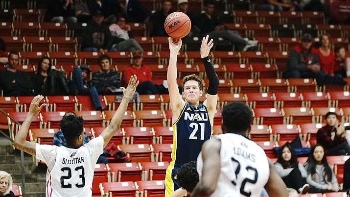Northern Arizona University guard Luke Avdalovic puts one up in the team's game Saturday, Jan. 12, 2019, against Southern Utah. (NAU Athletics/Courtesy)