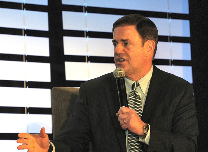 Gov. Doug Ducey discusses his priorities Friday with the state business community ahead of Monday's State of the State speech.  (Capitol Media Services photo by Howard Fischer)