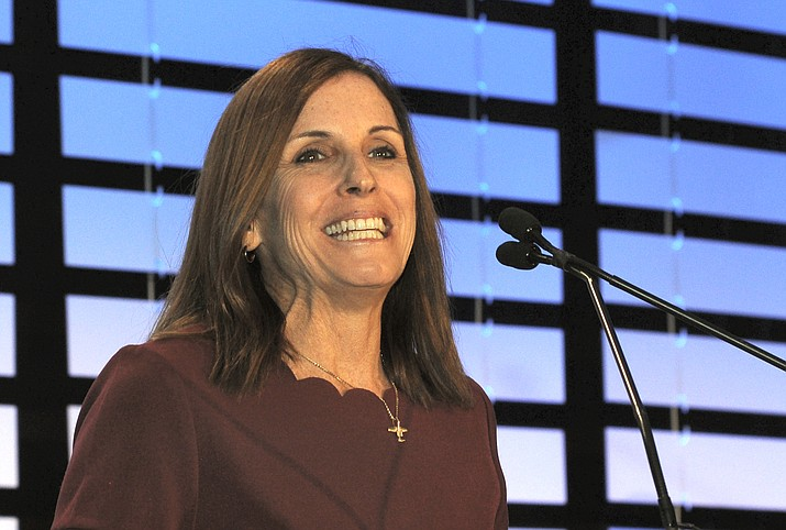 Newly appointed U.S. Sen. Martha McSally Friday at a business luncheon. Attorneys for Gov. Doug Ducey are defending his right to appoint her to fill John McCain's seat through the 2020 election. (Capitol Media Services photo by Howard Fischer)