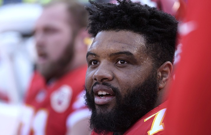 In this Dec. 9, 2018, file photo, Kansas City Chiefs offensive tackle Jeff Allen during the first half of an NFL football game in Kansas City, Mo. Allen thanked the man who helped pull his vehicle out of the snow with tickets to next week's AFC Championship game. Allen said he got stuck on the way to Arrowhead Stadium on Saturday, Jan. 12, 2019, because of the snow, but he made it in time for the Chief's victory over the Indianapolis Colts because of the Good Samaritan. (AP Photo/Reed Hoffmann, File)
