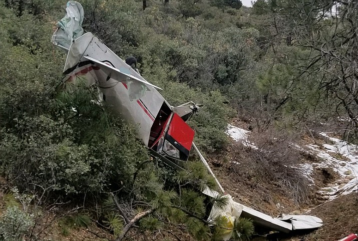 Mohave County Sheriff's Office is investigating a small plane crash that occurred at approximately 11:45 a.m. Sunday in the Hualapai Mountains. (Photo courtesy MCSO)