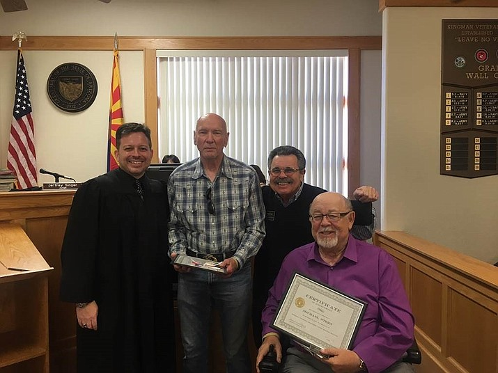 H. Lee Barnes and Mike Stern are sworn in as official mentors of the Kingman Veterans Treatment Court by Judge Jeffrey Singer and Kingman's Mentor Coordinator Jim Consolato. (courtesy photo)