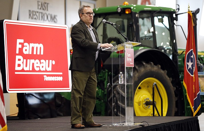 """Acting EPA administrator Andrew Wheeler speaks Tuesday, Dec. 18, 2018, in Lebanon, Tenn. Wheeler and Agriculture Secretary Sonny Perdue met with farmers about a new Trump administration proposal to redefine """"waters of the United States."""" (Mark Humphrey/AP, File)"""