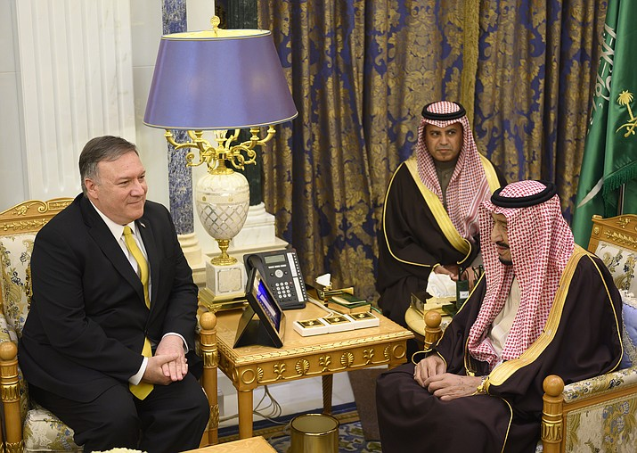 Saudi Arabia's King Salman, right meets with U.S. Secretary of State Mike Pompeo at the Royal Court in Riyadh, Monday, January 14, 2019. Pompeo met with Salman and Crown Prince Mohammed bin Salman on the latest stop of his Middle East tour that has so far been dominated by questions and concerns about the withdrawal of U.S. troops from Syria. (Andrew Cabellero-Reynolds/Pool via AP)