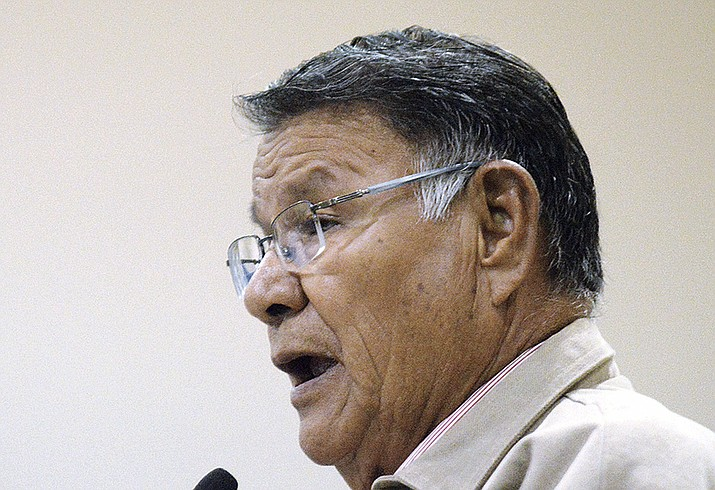 In this June 27, 2012, photo provided by the Navajo Times, former Navajo Nation President Milton Bluehouse Sr. speaks in Window Rock, Ariz. Bluehouse died on Monday, Jan. 14, 2019. He was 82. (Donovan Quintero/Navajo Times via AP)