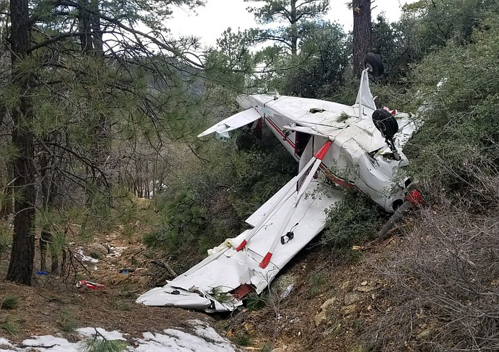 Two Prescott Valley residents were in this plane when it crashed near Kingman Sunday, Jan. 13. Federal Aviation Administration and National Transportation Safety Board are investigating the cause of the crash.