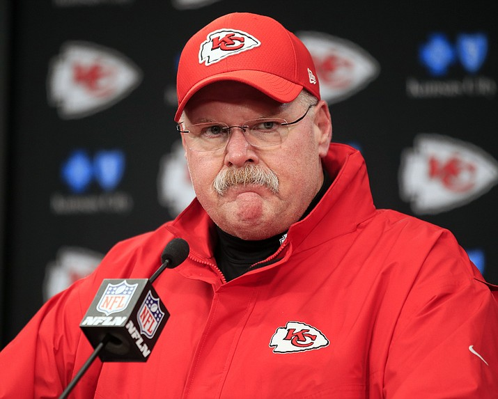 In this Jan. 12, 2019, file photo, Kansas City Chiefs coach Andy Reid is shown during a news conference following an NFL divisional football playoff game against the Indianapolis Colts, in Kansas City, Mo. There is perhaps nobody under greater pressure to win this postseason than Chiefs coach Andy Reid, whose Hall of Fame-worthy resumes includes everything but a Super Bowl triumph. (Ed Zurga/AP, file)
