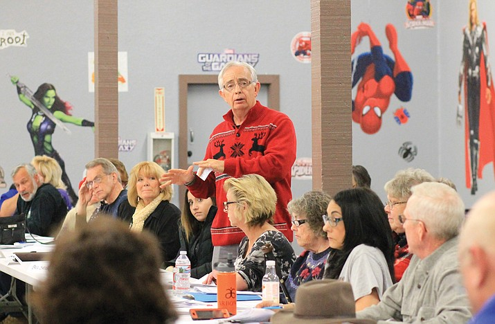 Bill Sutton shares the plans of the Christmas Committee at the 2018 Event Huddle. (Wendy Howell/WGCN)