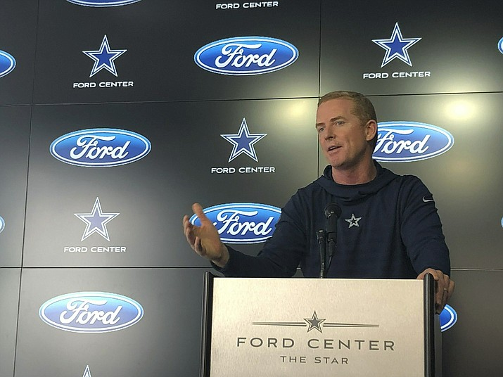 Dallas Cowboys Jason Garrett holds his final news conference of the season at team headquarters in Frisco, Texas, on Monday, jan. 14, 2019. The Cowboys lost to the Los Angeles Rams 30-22 in the divisional playoffs Saturday. (Schuyler Dixon/AP)