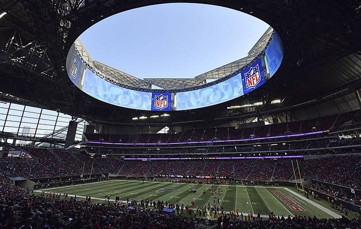 The Atlanta Falcons play the Baltimore Ravens in Mercedes-Benz Stadium in Atlanta during the second half of a game Sunday, Dec. 2, 2018. Atlanta leaders, police and federal officials plan to discuss public safety plans ahead of Super Bowl 53. (Danny Karnik/AP)