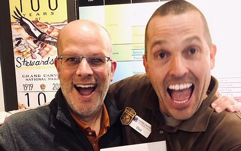 Retail Operations Manager Duncan Petrie (left) and Visitor Experience Specialist Clint Pastorius recruited Grand Canyon Conservancy's 10,000 supporter last month. The non-profit organization recruited 10,000 supporters between Jan. 1 and Dec. 15, 2018. (Photo/Grand Canyon Conservancy)