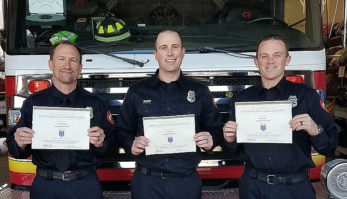 "Prescott Fire Department Engineers Eric ""Conrad"" Jackson, David Haskell and Jeffrey Archer."