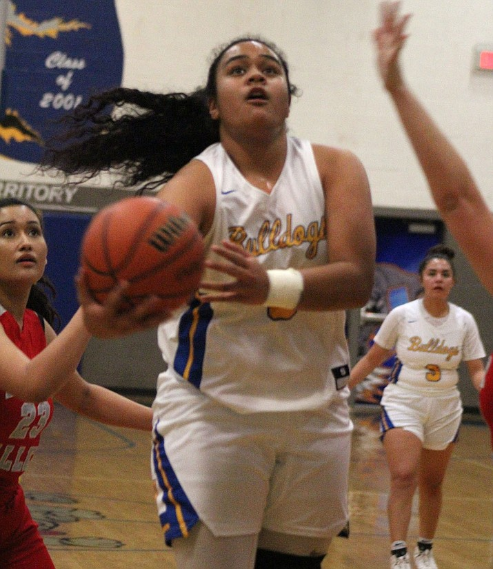 Kearra Tauta scored 15 of her game-high 20 points in the second half Tuesday as the Lady Bulldogs knocked off River Valley 48-45 for their 10th straight win. (Photo by Beau Bearden/Daily Miner)