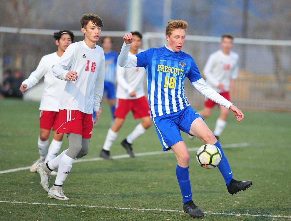 Prescott's Zachary JOnes controls the ball in the box as the Badgers take on the Mingus Marauders Wednesday Jan. 16, 2019 in Prescott Valley. (Les Stukenberg/Courier).