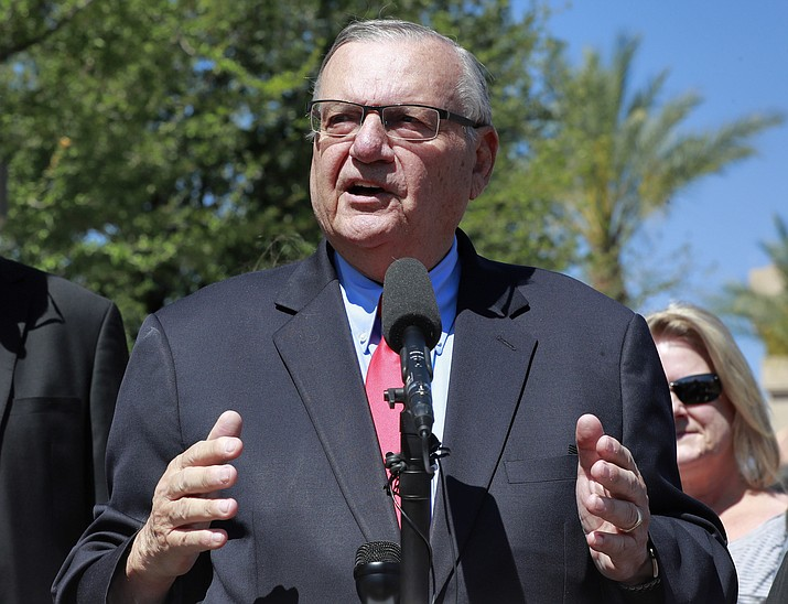 In this May 22, 2018, file photo, former Arizona Sheriff Joe Arpaio speaks at the Arizona Capitol as part of his unsuccessful U.S. Senate campaign. Last week, a judge who ordered compensation for Latinos who were illegally detained when Arpaio defied a 2011 court order in a racial profiling order was asked to give the victims six more months to seek the money. Maricopa County, which is responsible for the compensation costs, is expected to oppose the proposed extension. (Matt York/AP, file)