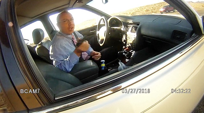This file photo from March 27, 2018, law enforcement body camera video from the La Paz County Sheriff's Office shows Arizona state Rep. Paul Mosley during a traffic stop outside Parker. (La Paz County Sheriff's Office/KLPZ/ParkerLiveOnline via AP, File)