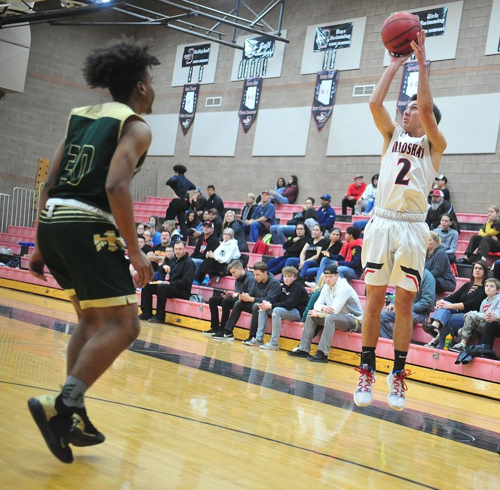 Bradshaw Mountain's Parker Bennett takes a three-pointer as the Bears take on the Mohave Thunderbirds Thursday Jan. 17, 2019 in Prescott Valley. (Les Stukenberg/Courier).