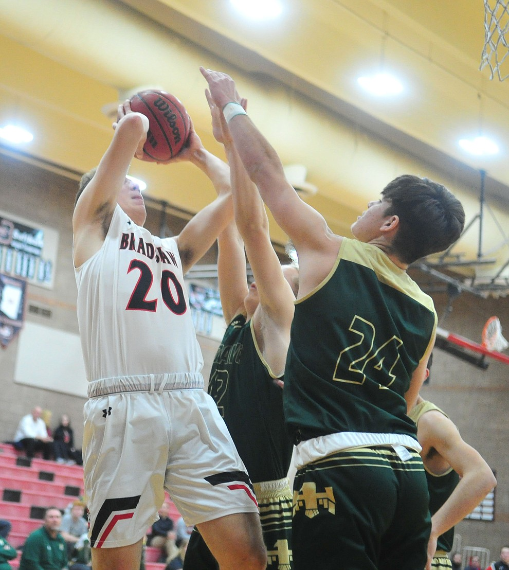Bradshaw Mountain's David Massis goes up for a shot as the Bears take on the Mohave Thunderbirds Thursday Jan. 17, 2019 in Prescott Valley. (Les Stukenberg/Courier).