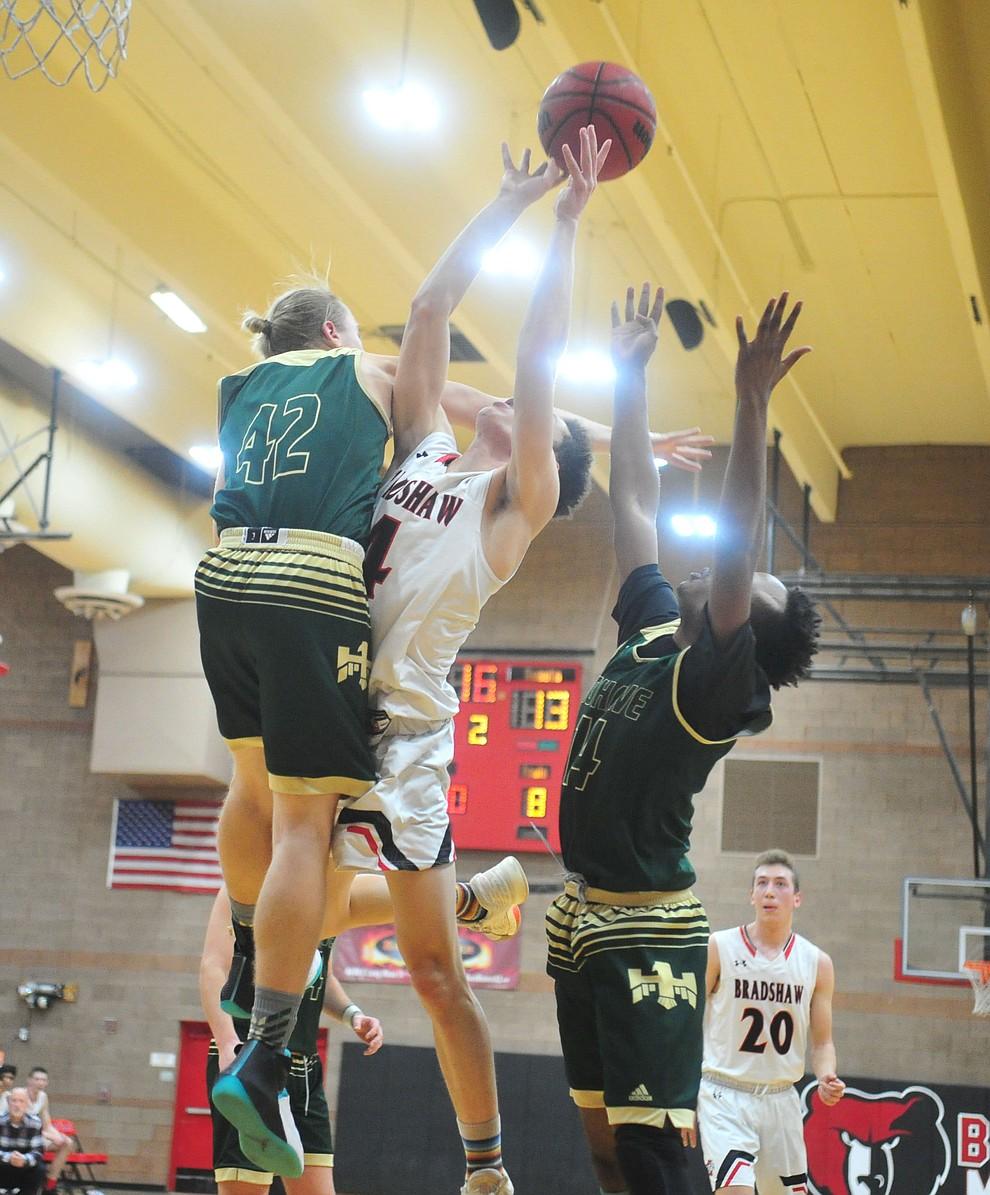 Bradshaw Mountain's Carter John grabs a rebound as the Bears take on the Mohave Thunderbirds Thursday Jan. 17, 2019 in Prescott Valley. (Les Stukenberg/Courier).