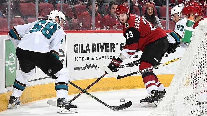 Oliver Ekman-Larsson, right, scored a goal Wednesday night in a 6-3 win over San Jose. (Photo courtesy of Arizona Coyotes)