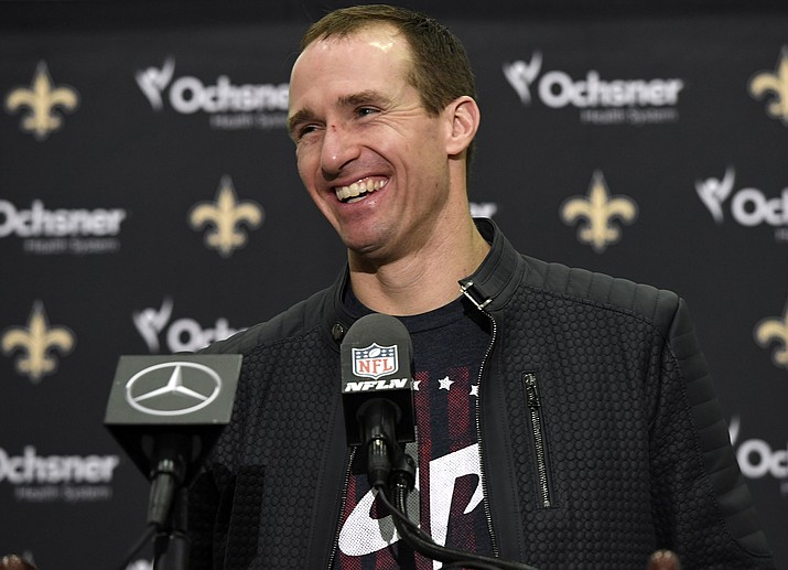In this Dec. 23, 2018, file photo, New Orleans Saints quarterback Drew Brees speaks at a post-game press conference after their NFL football game against the Pittsburgh Steelers, in New Orleans. Drew Brees is about to play his first game at 40. It's also the biggest game he's played in nine seasons and a Super Bowl is on the line. (Bill Feig/AP, file)
