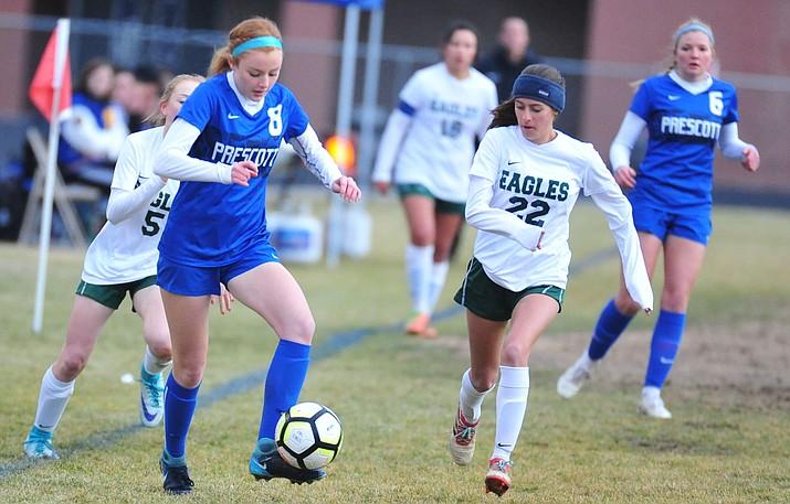 Prescott's Erika Smith brings the ball upfield as the Badgers take on the Flagstaff Eagles Thursday Jan. 17, 2019 in Prescott. (Les Stukenberg/Courier)