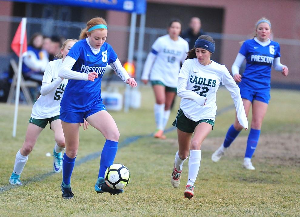 Prescott's Erika Smith brings the ball upfield as the Badgers take on the Flagstaff Eagles Thursday Jan. 17, 2019 in Prescott. (Les Stukenberg/Courier).