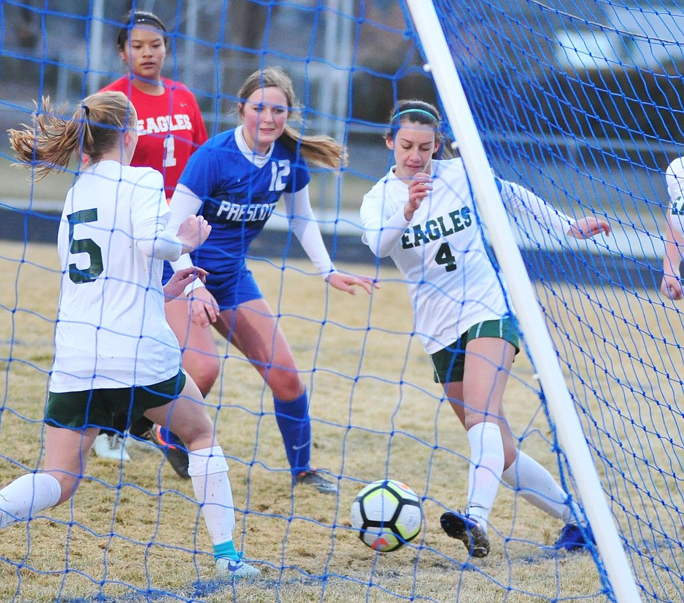 Prescott's Emma Townsend and the Badgers had several close goals in the first half as they take on the Flagstaff Eagles Thursday Jan. 17, 2019 in Prescott. (Les Stukenberg/Courier).