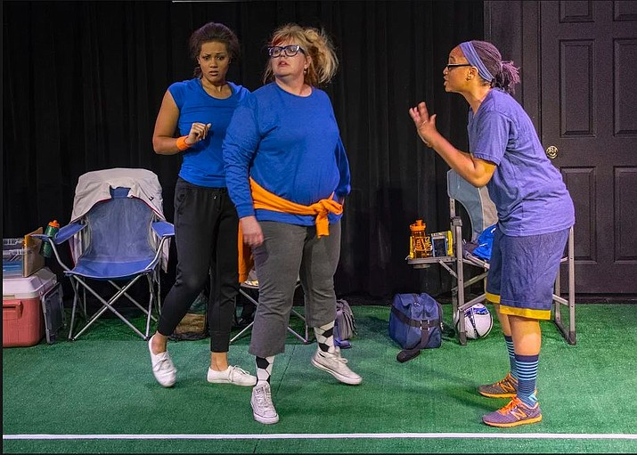 "From left, Actresses Lexe Niekamp (Lynn), Tina Boden-Blake (Nancy) and Esther Kparyea (Alison) act out a scene from the play, ""Secrets of a Soccer Mom,"" during a dress rehearsal Monday, Jan. 14, at Prescott Center for the Arts Stage Too theater in Prescott. The comedic play opened Jan. 17, and will run through Feb. 3. (Prescott Center for the Arts/Courtesy)"