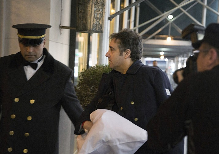 "Michael Cohen arrives at his home Thursday, Jan. 18, 2019 in New York. Democrats are vowing to investigate whether President Donald Trump directed Cohen, his personal attorney, to lie to Congress about a Moscow real estate project, calling that possibility a ""concern of the greatest magnitude."" (AP Photo/Kevin Hagen)"