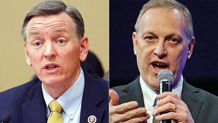 Reps. Paul Gosar of Prescott, left, and Andy Biggs of Gilbert. (AP file photos)