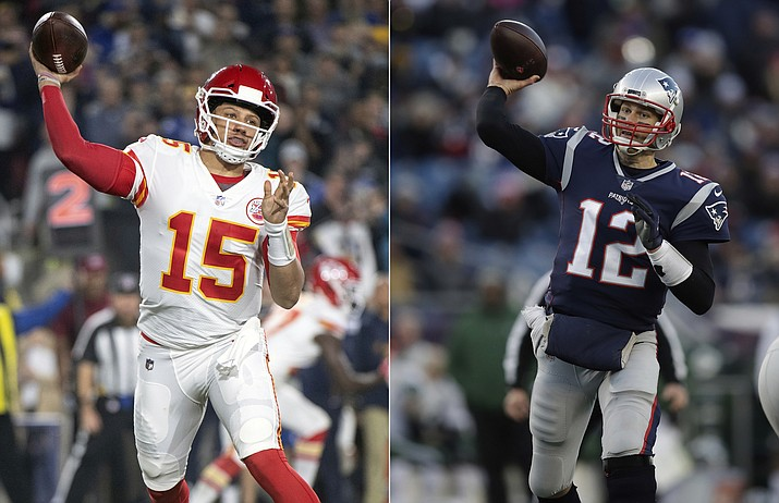 At left, in a Nov. 19, 2018, file photo, Kansas City Chiefs quarterback Patrick Mahomes throws a pass during an NFL football game against the Los Angeles Rams in Los Angeles. At right, in a Dec. 30, 2018, file photo, New England Patriots quarterback Tom Brady throws during the second half of an NFL football game in Foxborough, Mass. It seems football fans everywhere are suddenly on the Chiefs' bandwagon, enthralled by their record-setting young quarterback and exciting offensive playmakers while hopeful that their amiable old coach can finally win the big one. Then again, maybe they're just fans of anybody facing New England.(AP Photo/File)