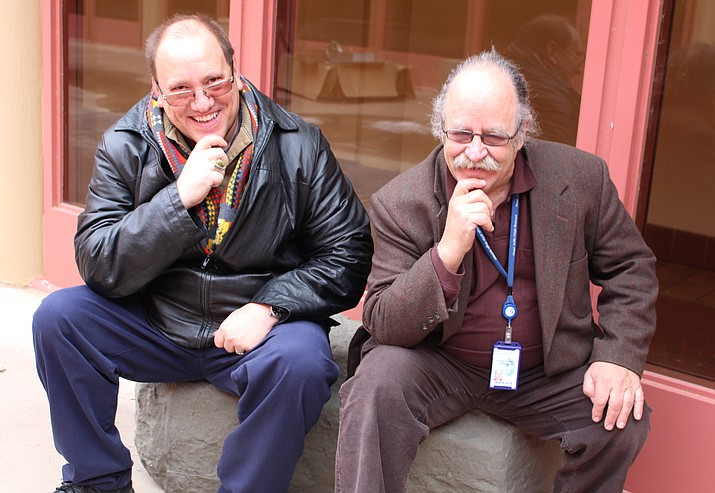 Hopi High Dean of Students Jerry Cronin and Hopi High Climate Coach Preston Clocksin think about discipline in the serenity garden.  (Stan Bindell/NHO)