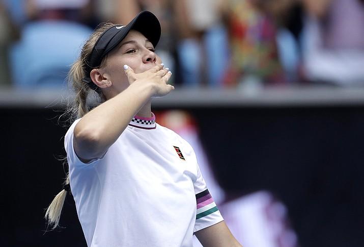 United States' Amanda Anisimova celebrates after defeating Aryna Sabalenka of Belarus during their third round match at the Australian Open tennis championships in Melbourne, Australia, Friday, Jan. 18, 2019. (Mark Schiefelbein/AP)