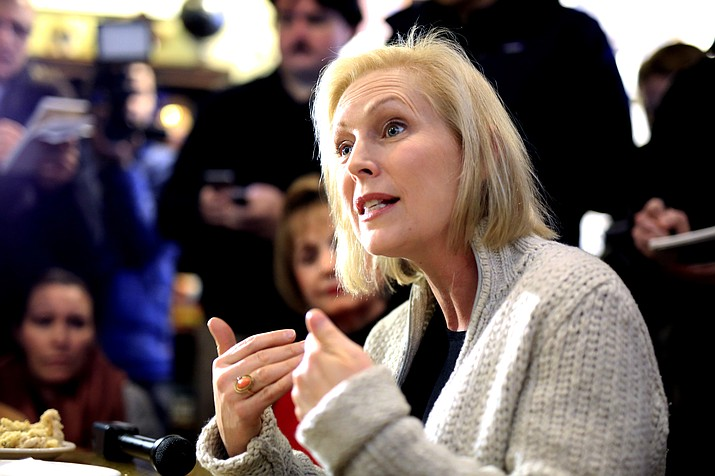 Sen. Kirsten Gillibrand, D-N.Y., meets with residents at the Pierce Street Coffee Works cafe, in Sioux City, Iowa, Friday, Jan. 18, 2019. Advocates for gender equality are gearing up for at least four women to compete for the Democratic nomination to take on President Donald Trump in 2020. (Nati Harnik/AP)