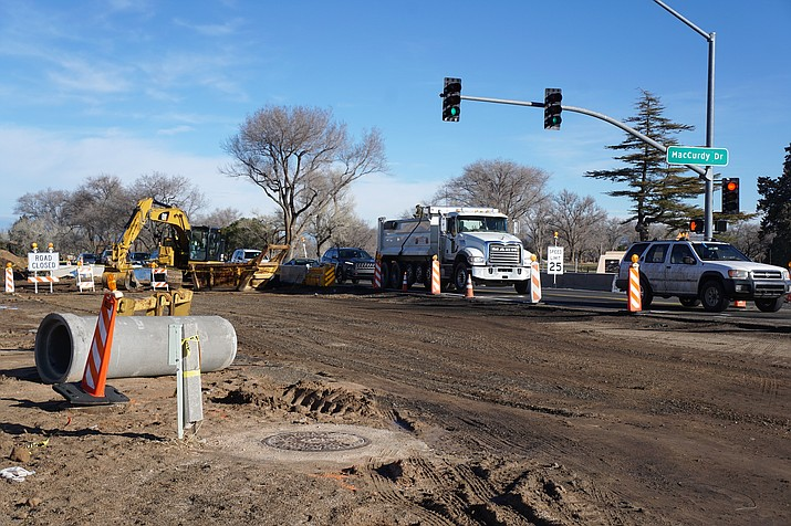 An ongoing $10.3 million widening project continues to affect traffic along a stretch of Highway 89 in northeast Prescott. On Wednesday, Jan. 16, the highway was shut down to allow for an interim repair of the old pavement, due to weather-related deterioration near MacCurdy Drive. (Cindy Barks/Courier)