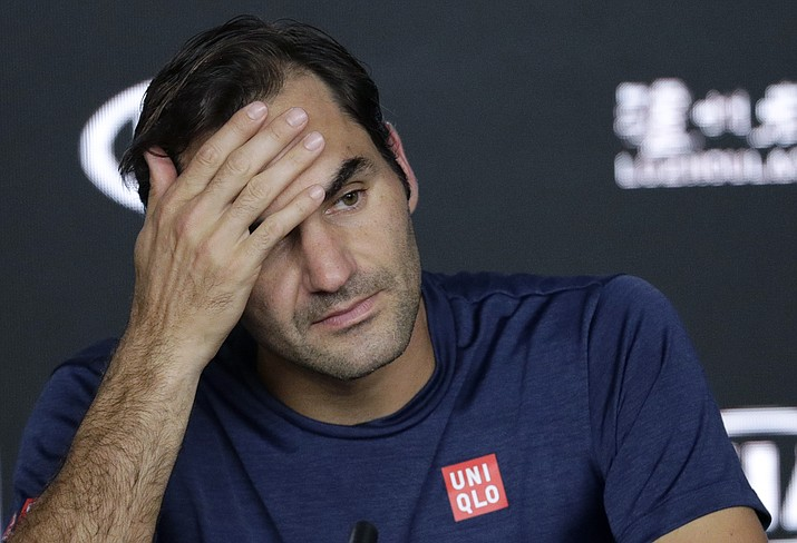 Switzerland's Roger Federer answers questions at a press conference following his fourth round loss to Greece's Stefanos Tsitsipas at the Australian Open tennis championships in Melbourne, Australia, Sunday, Jan. 20, 2019. (Aaron Favila/AP)