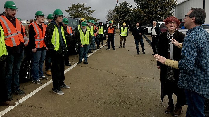 Job Readiness Boot Camp attendees before their tour of MI Windows and Doors. (George Johnston/Courier)