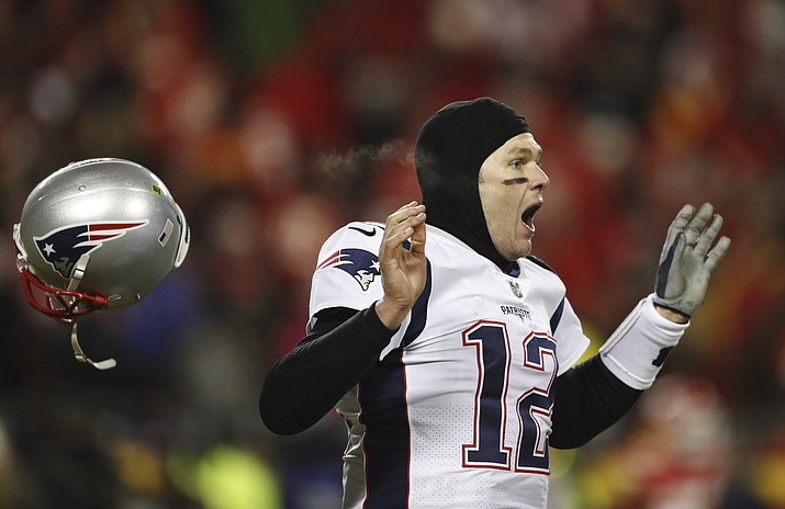 New England Patriots quarterback Tom Brady celebrates after defeating the Kansas City Chiefs in the AFC Championship NFL football game, Sunday, Jan. 20, 2019, in Kansas City, Mo. (Jeff Roberson/AP)