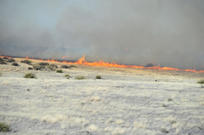 A fire burning north of Highway 89A is moving through grasslands between Prescott and Prescott Valley Monday afternoon, Jan. 21. Firefighters are working the flames.
